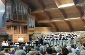 senior choir in worship white